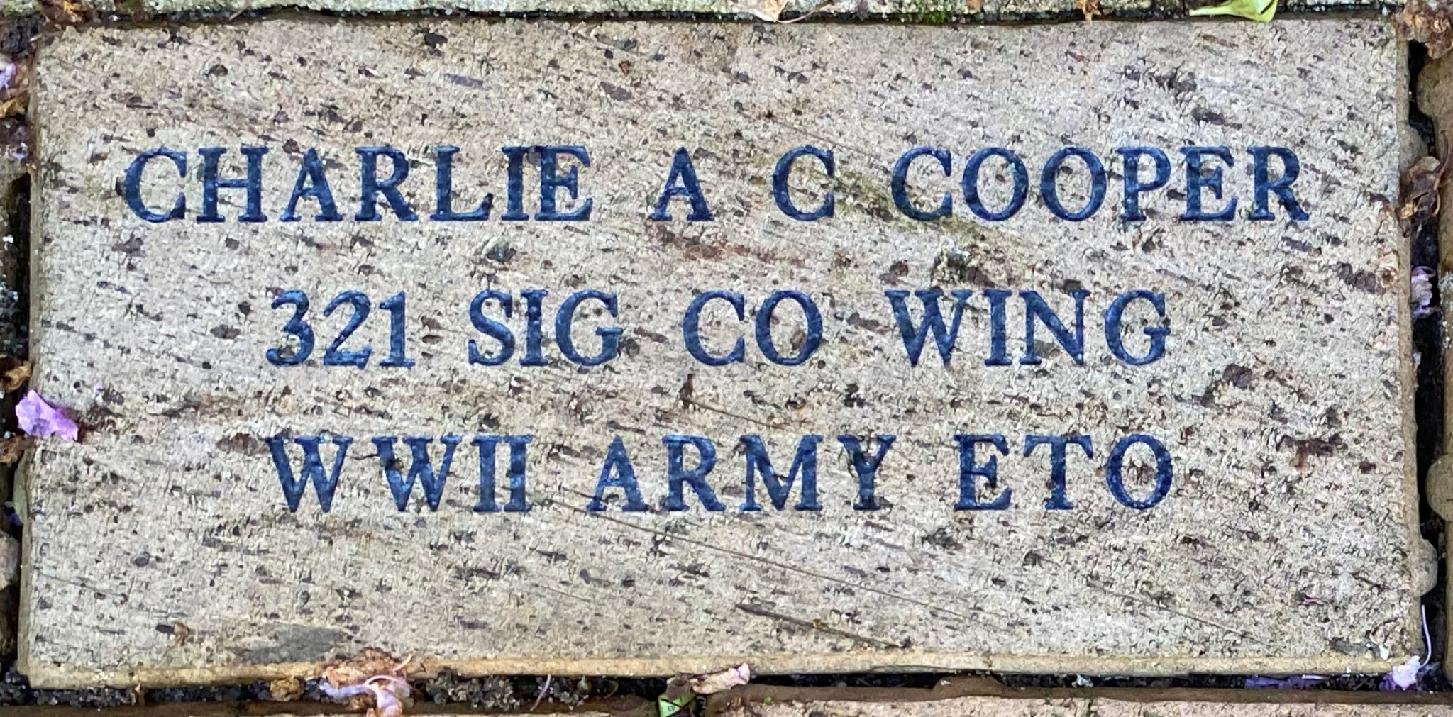 CHARLIE A C COOPER 321 SIG CO WING WWII ARMY ETO
