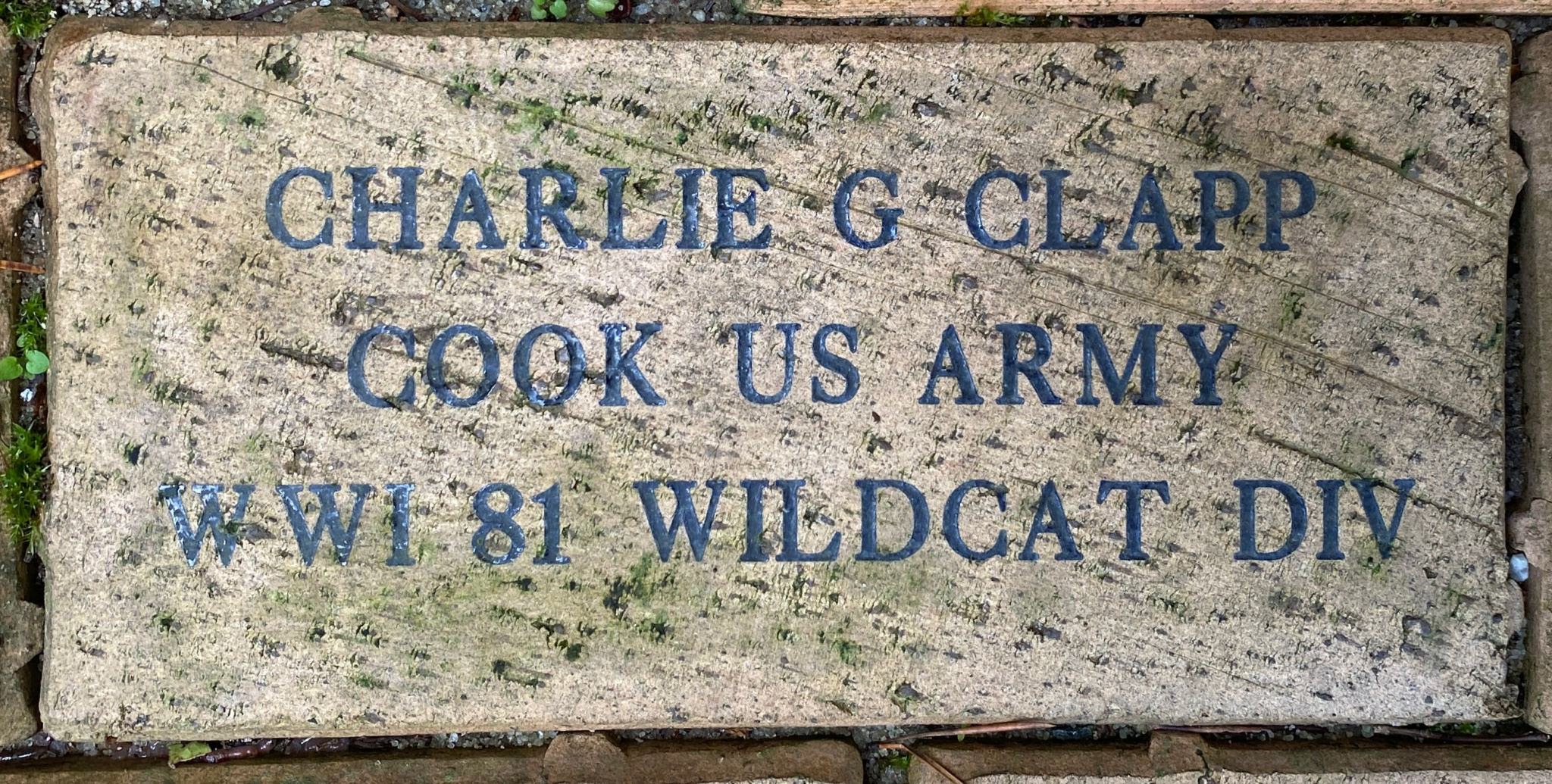 CHARLIE G CLAPP COOK US ARMY WWI 81 WILDCAT DIV
