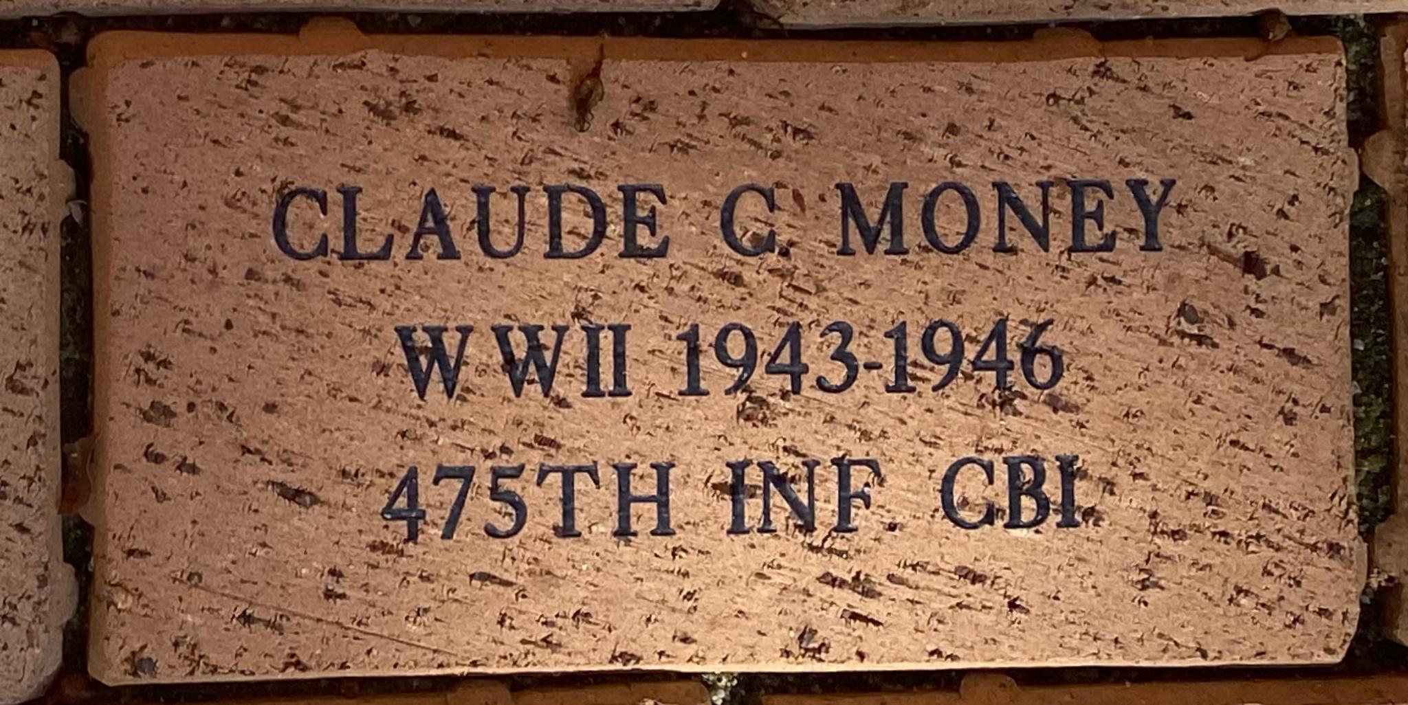CLAUDE C. MONEY WWII 1943-1946 475TH INF. CBI