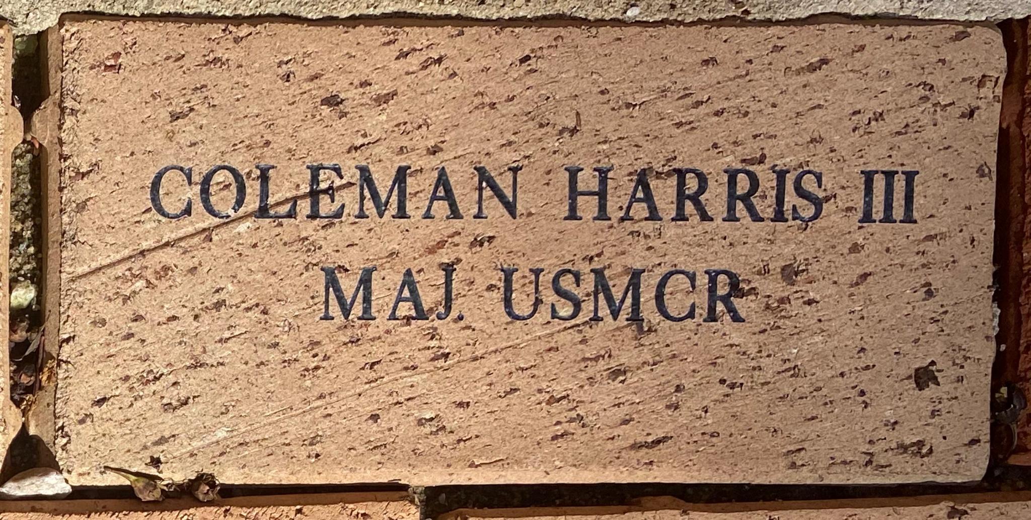 COLEMAN HARRIS III MAJ. USMCR