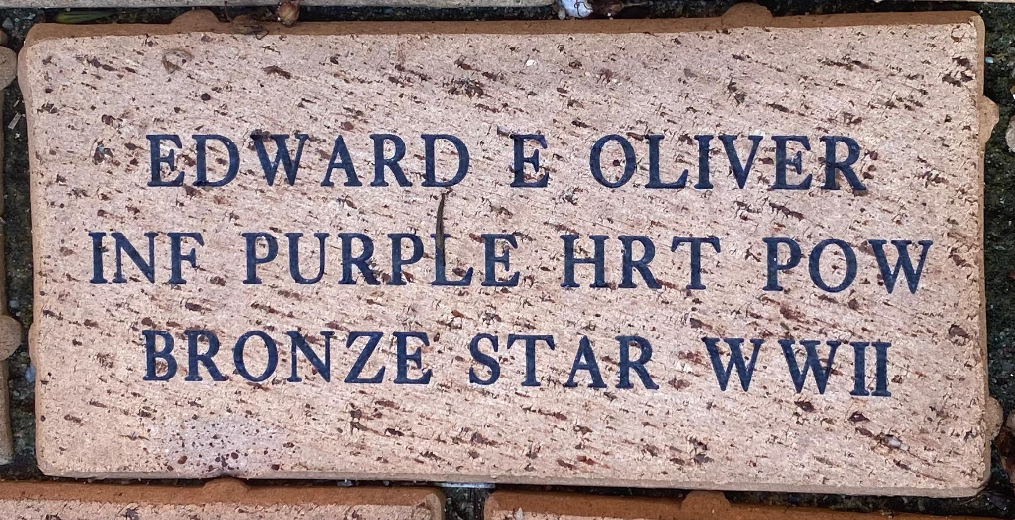 EDWARD E OLIVER INF PURPLE HRT POW BRONZE STAR WWII