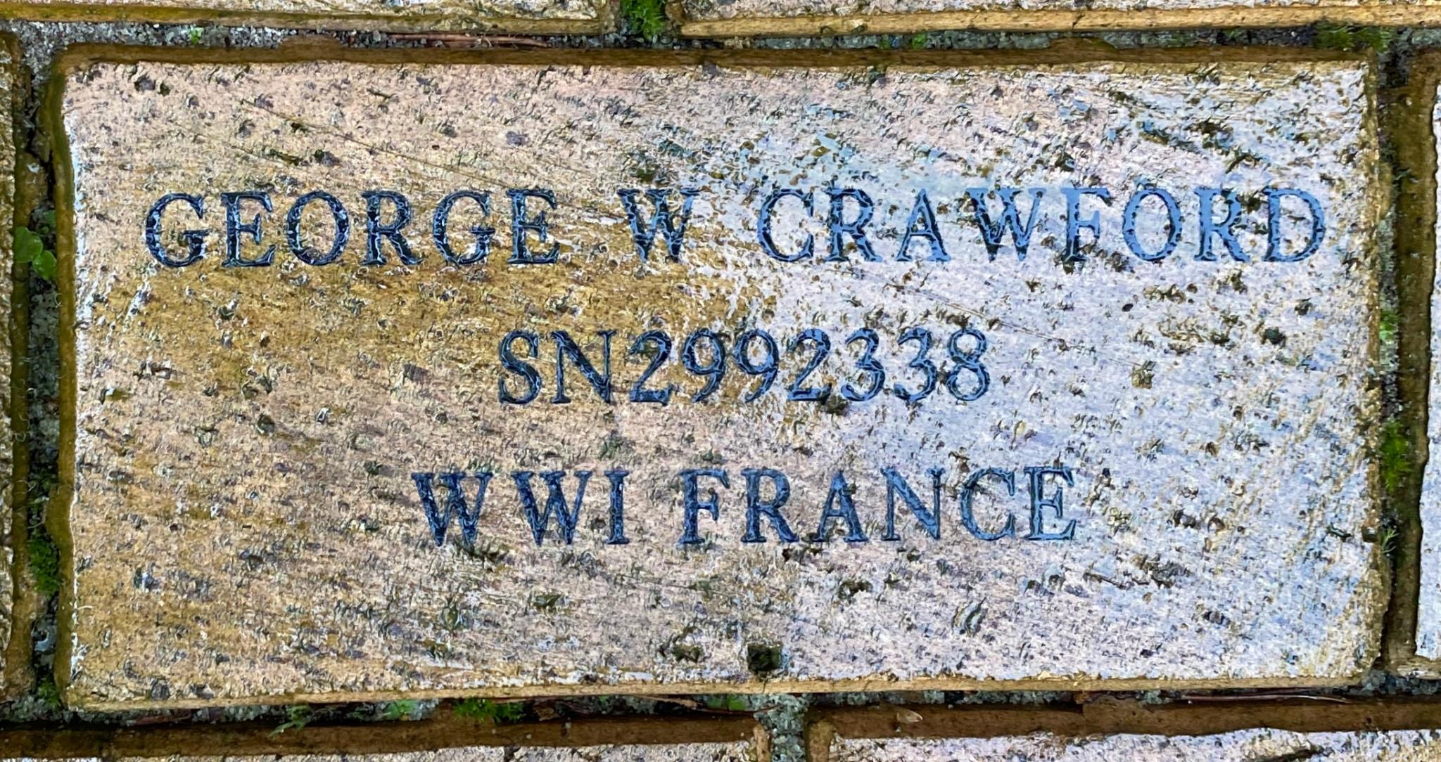 GEORGE W CRAWFORD SN2992338 WWI FRANCE