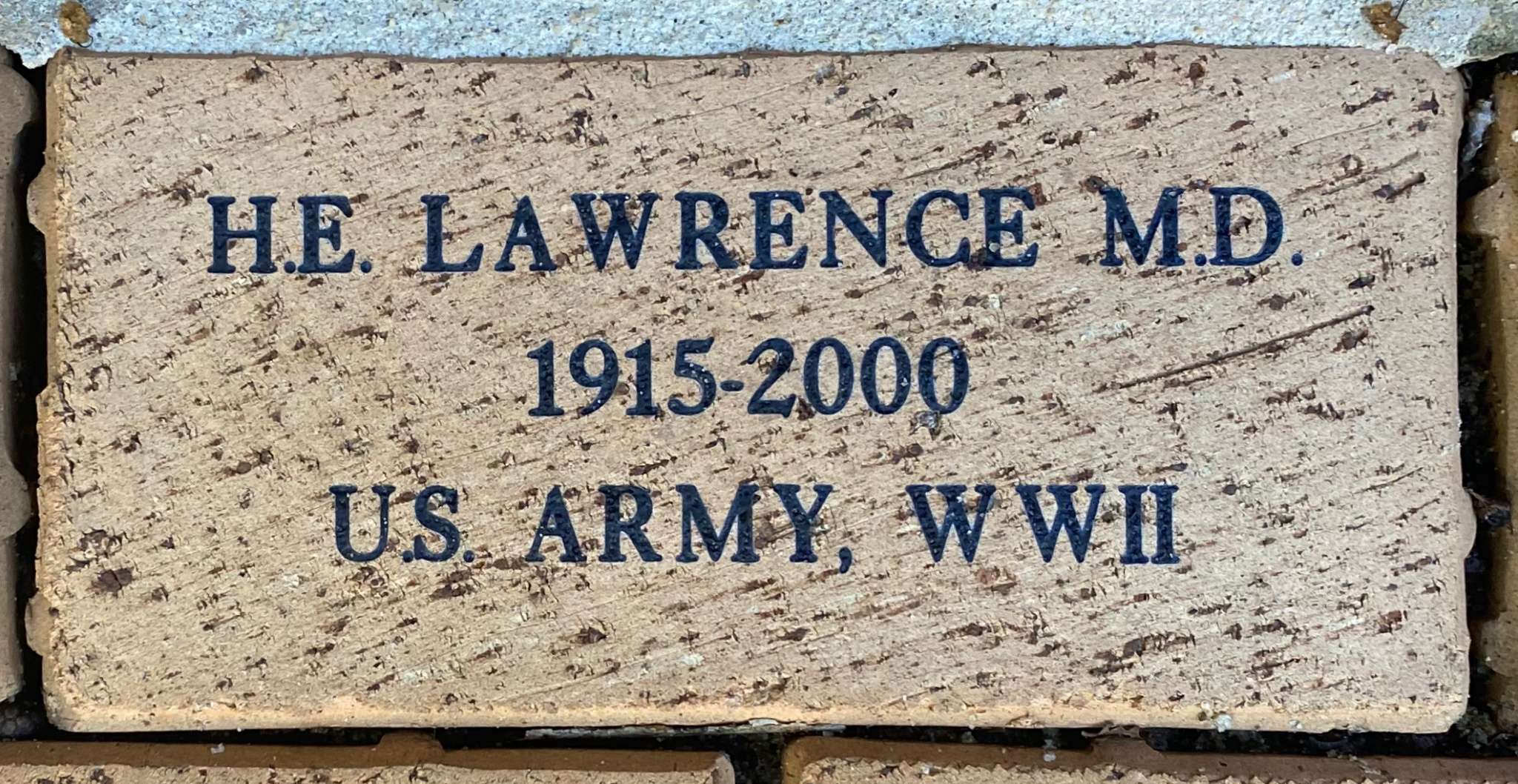 H.E. LAWRENCE M.D. 1915-2000 U.S. ARMY, WWII