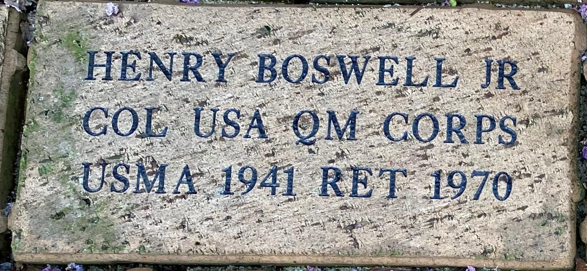 HENRY BOSWELL JR COL USA QM CORPS USMA 1941 RET 1970