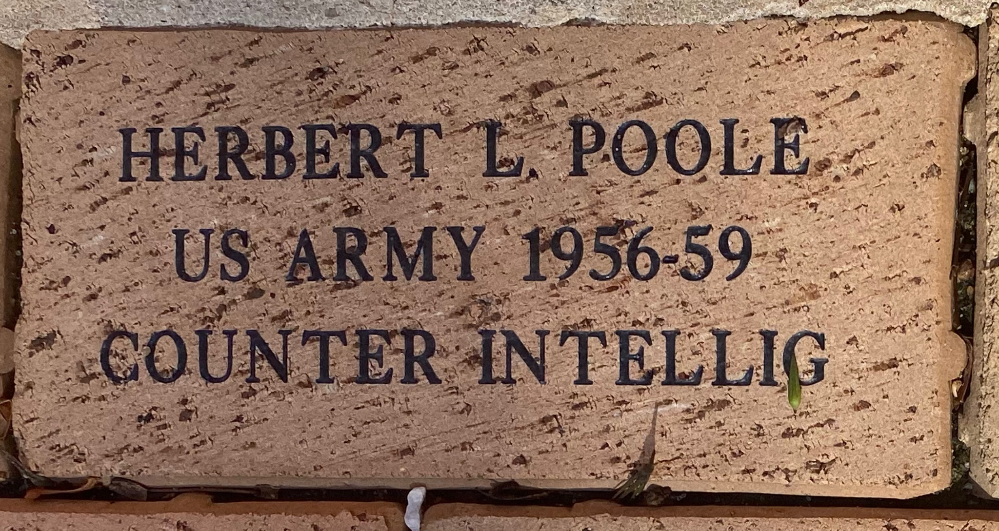 HERBERT L POOLE US ARMY 1956-59 COUNTER INTELLIG