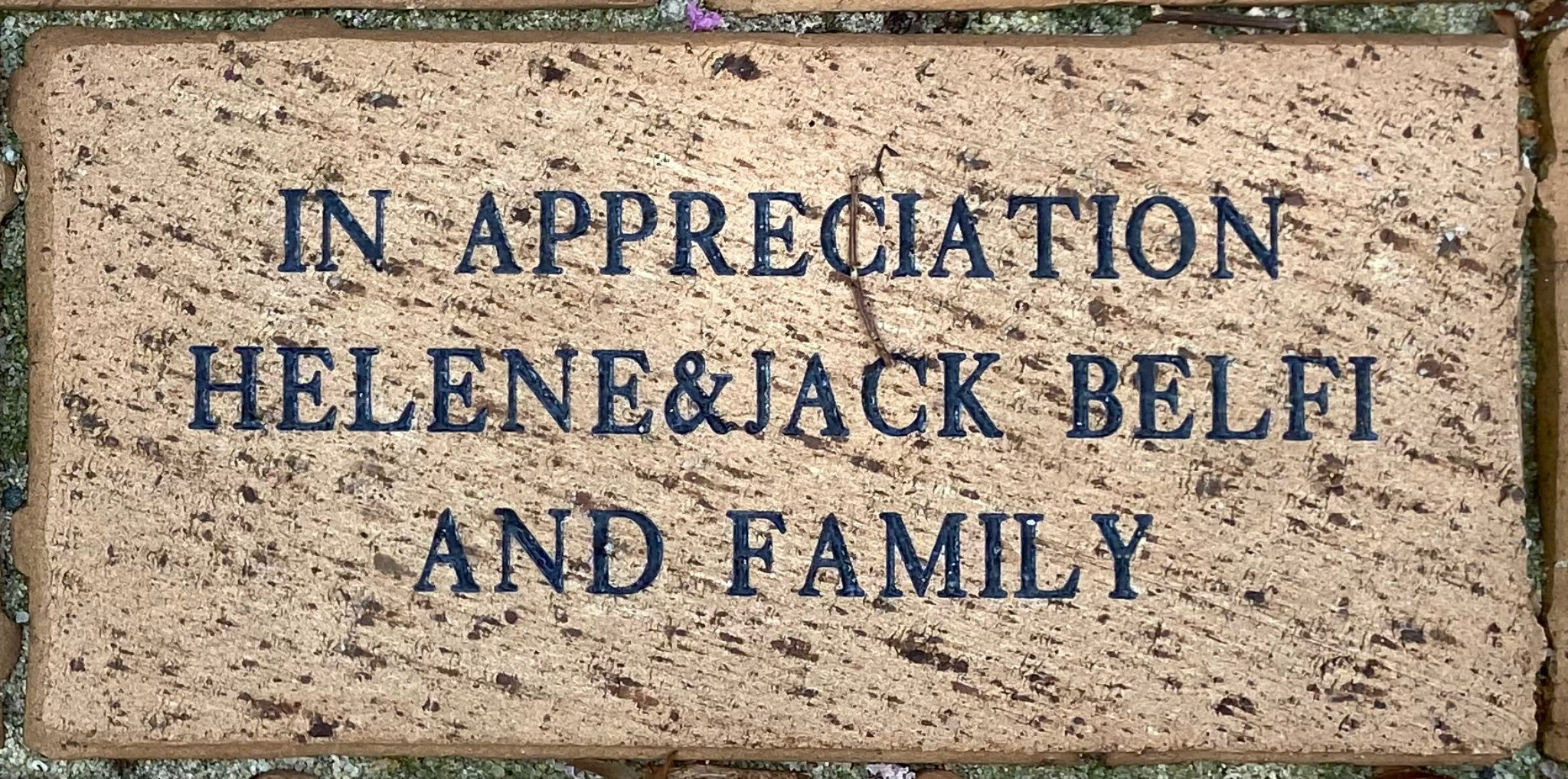 IN APPRECIATION HELENE&JACK BELFI AND FAMILY