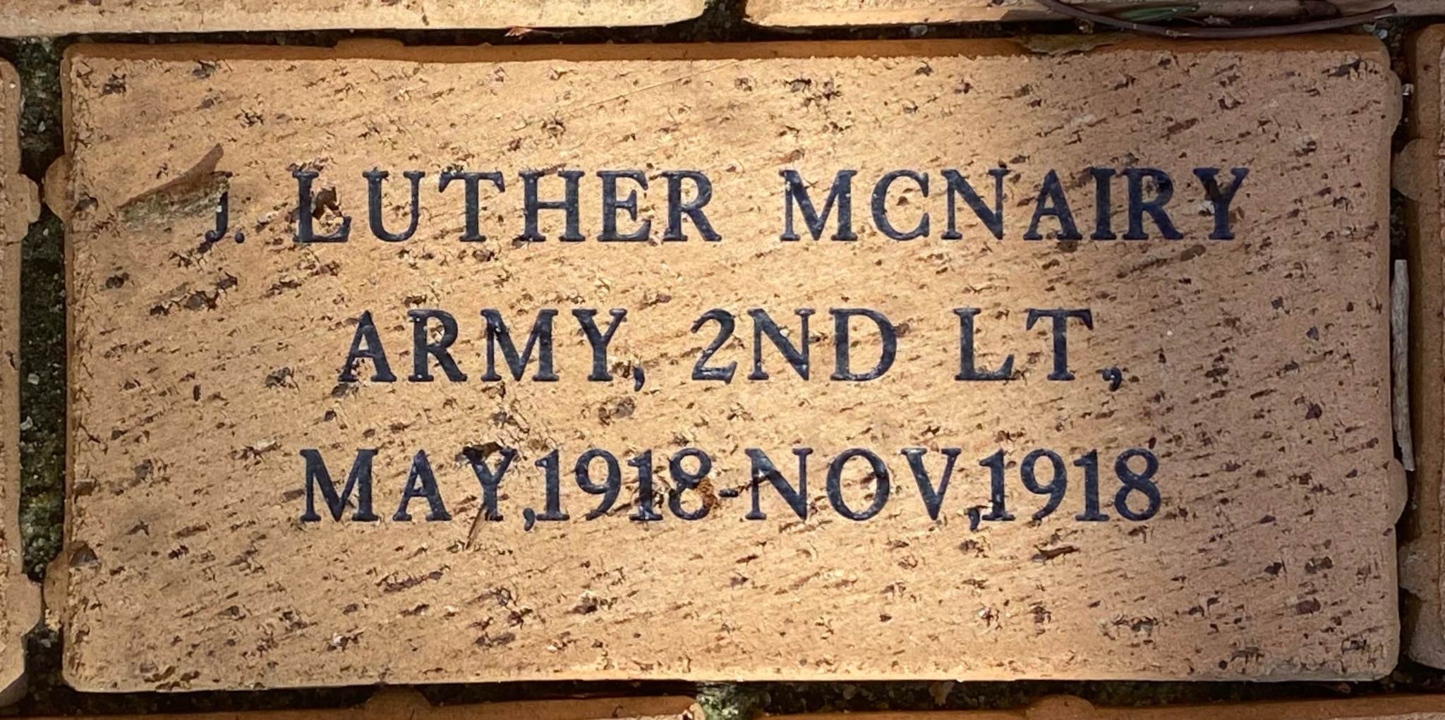 J. LUTHER MCNAIRY ARMY 2ND LT. MAY, 1918-NOV.1918