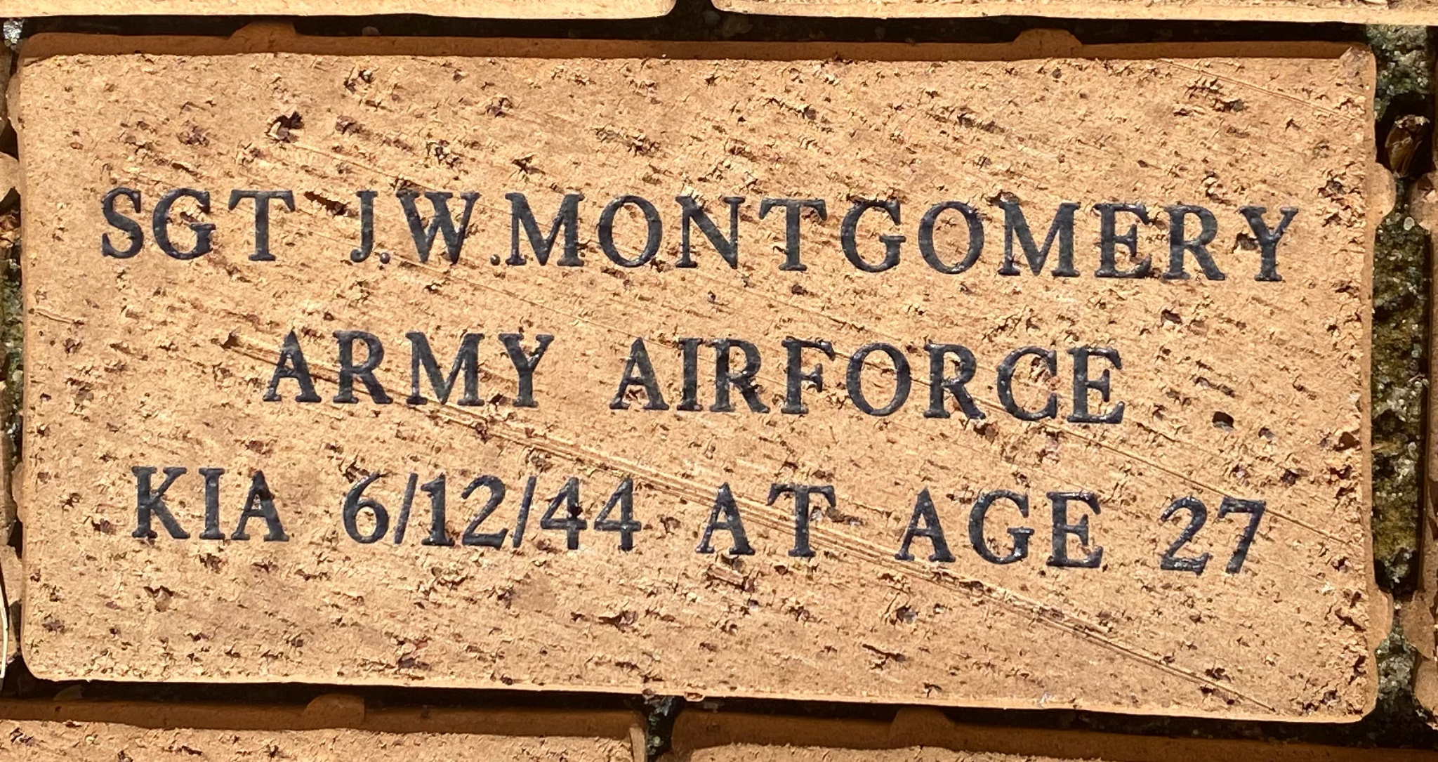 SGT J.W.MONTGOMERY ARMY AIRFORCE KIA 6/12/44 AT AGE 27