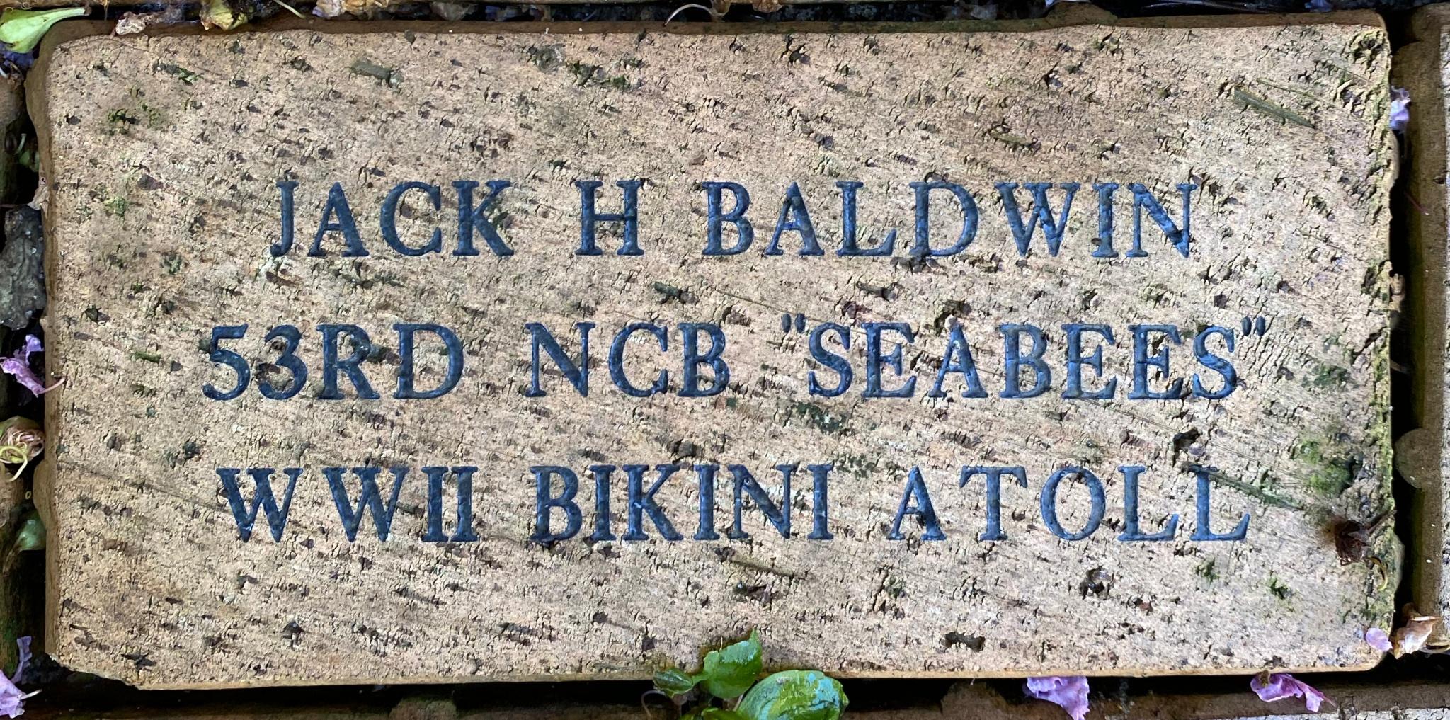 """JACK H BALDWIN 53RD NCB """"""""SEABEES"""""""" WWII BIKINI ATOLL"""