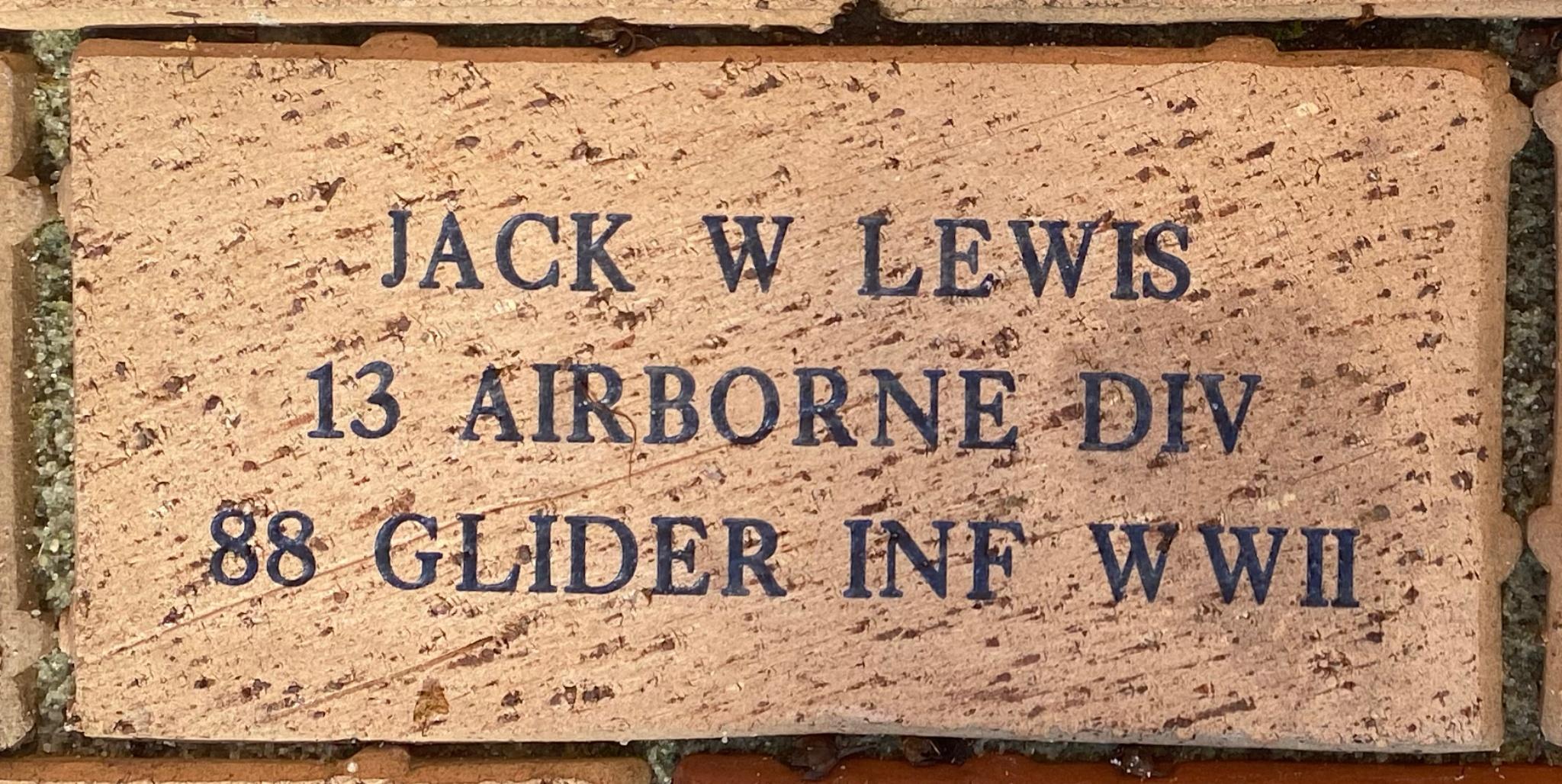 JACK W LEWIS 13 AIRBORNE DIV 88 GLIDER INF WWII