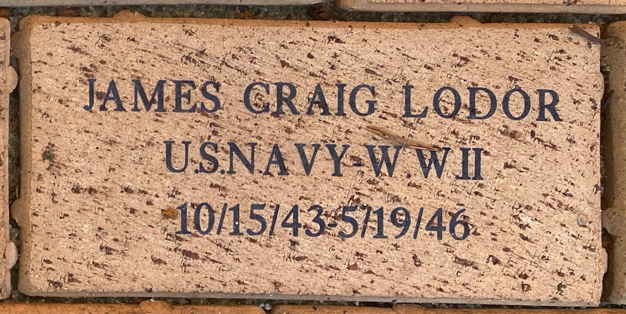 JAMES CRAIG LODOR U.S.NAVY- WWII 10/15/43-5/19/46