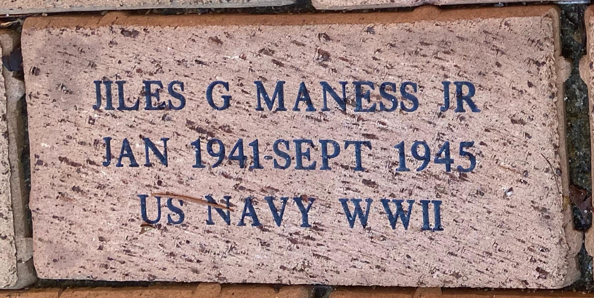 JILES G MANESS JR JAN 1941-SEPT 1945 US NAVY WWII
