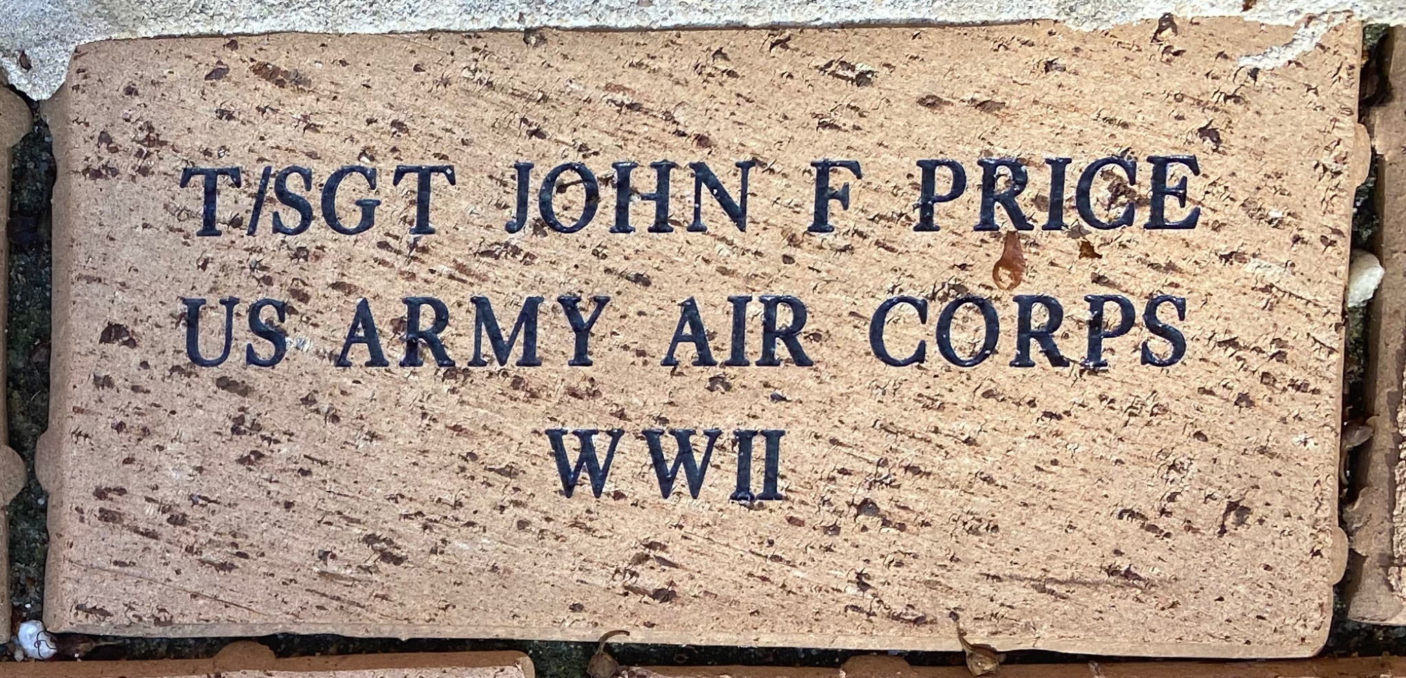 T/SGT JOHN F PRICE US ARMY AIR CORPS WWII