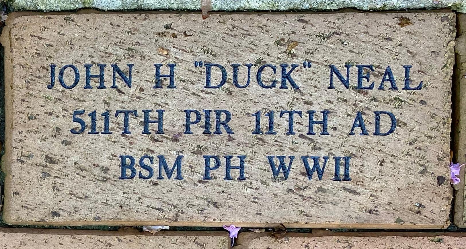 "JOHN H """"DUCK"""" NEAL 511TH PIR 11TH AD BSM PH WWII"