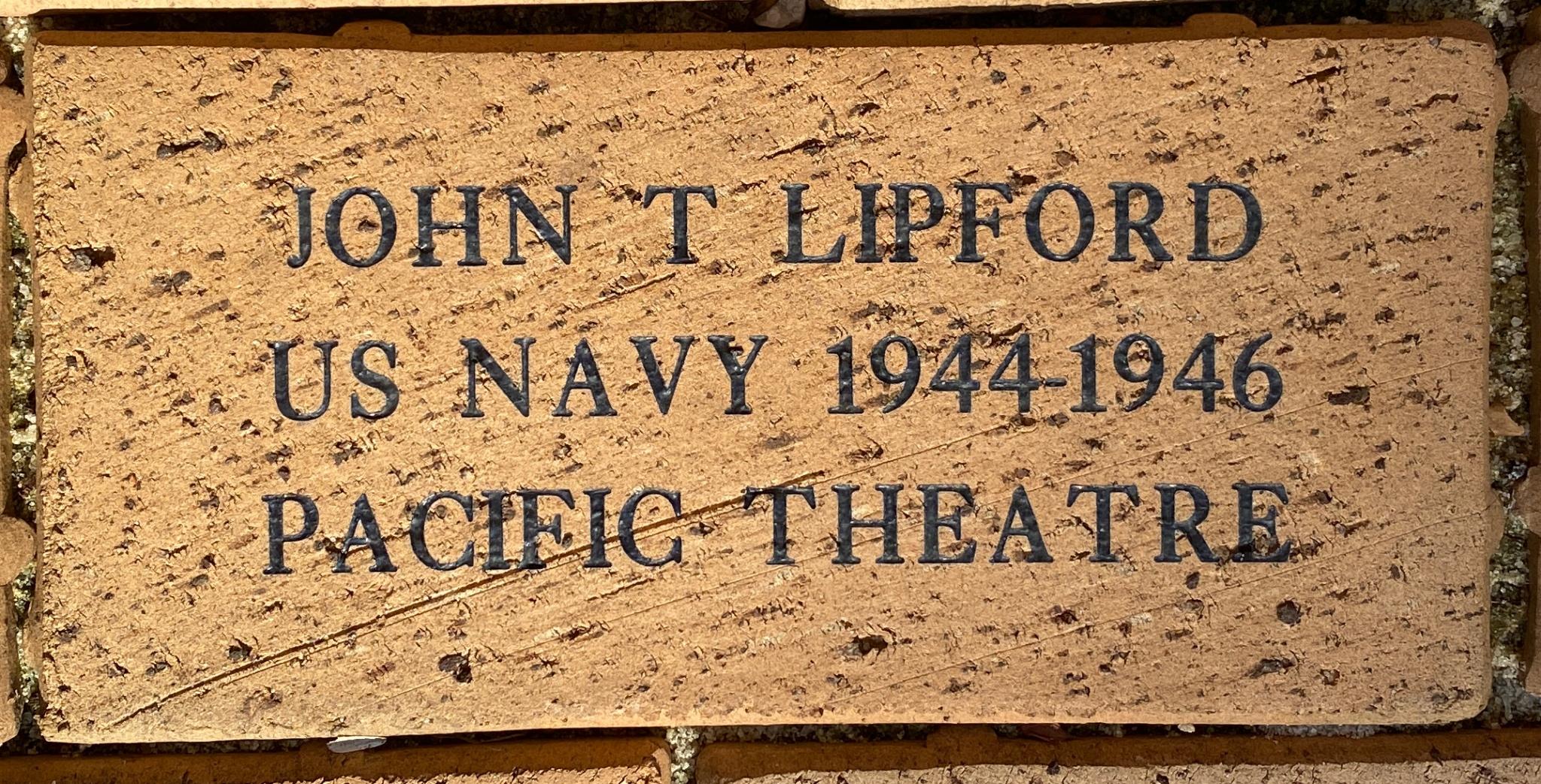 JOHN T LIPFORD US NAVY 1944-1946 PACIFIC THEATRE