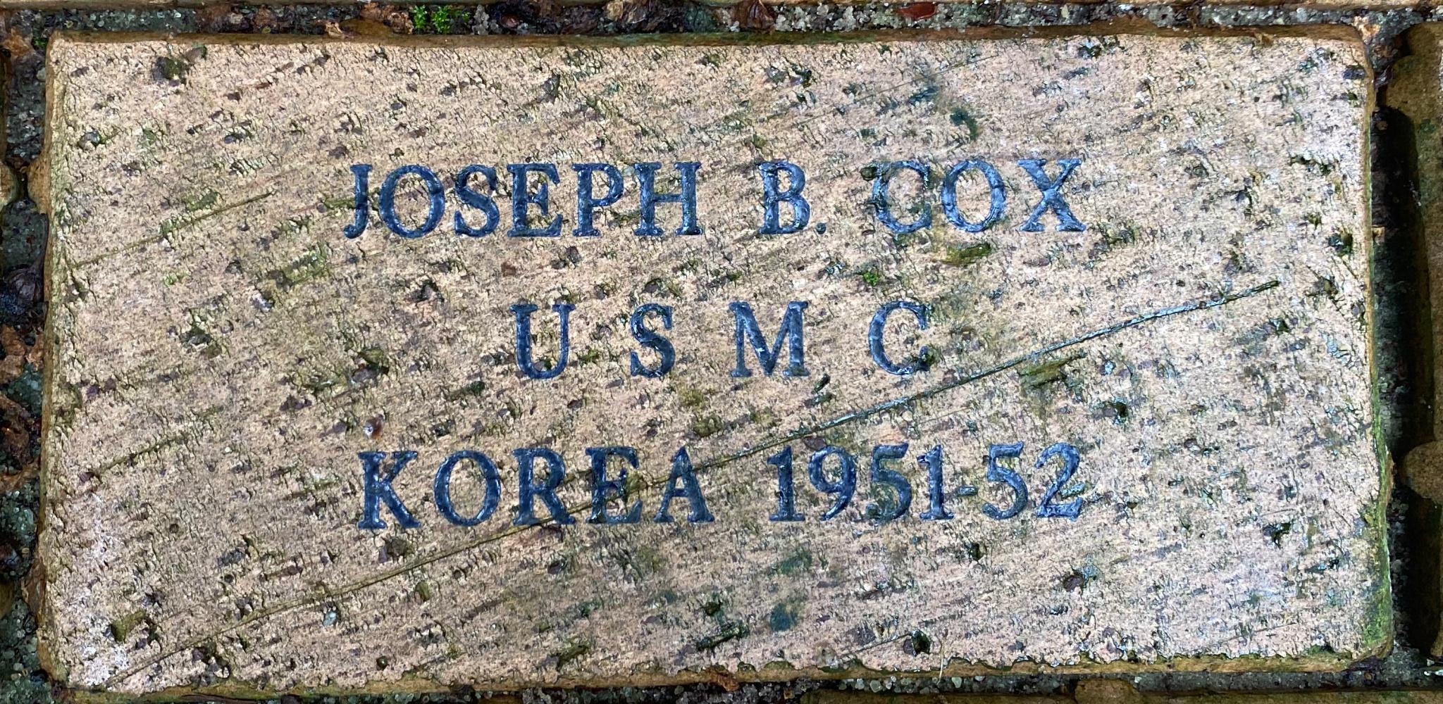 JOSEPH B. COX U S M C KOREA 1951-52