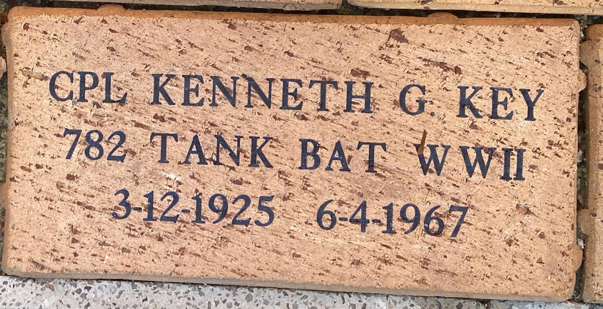 CPL KENNETH G. KEY 782 TANK BAT WWII 3-12-1925 – 6-4-1967
