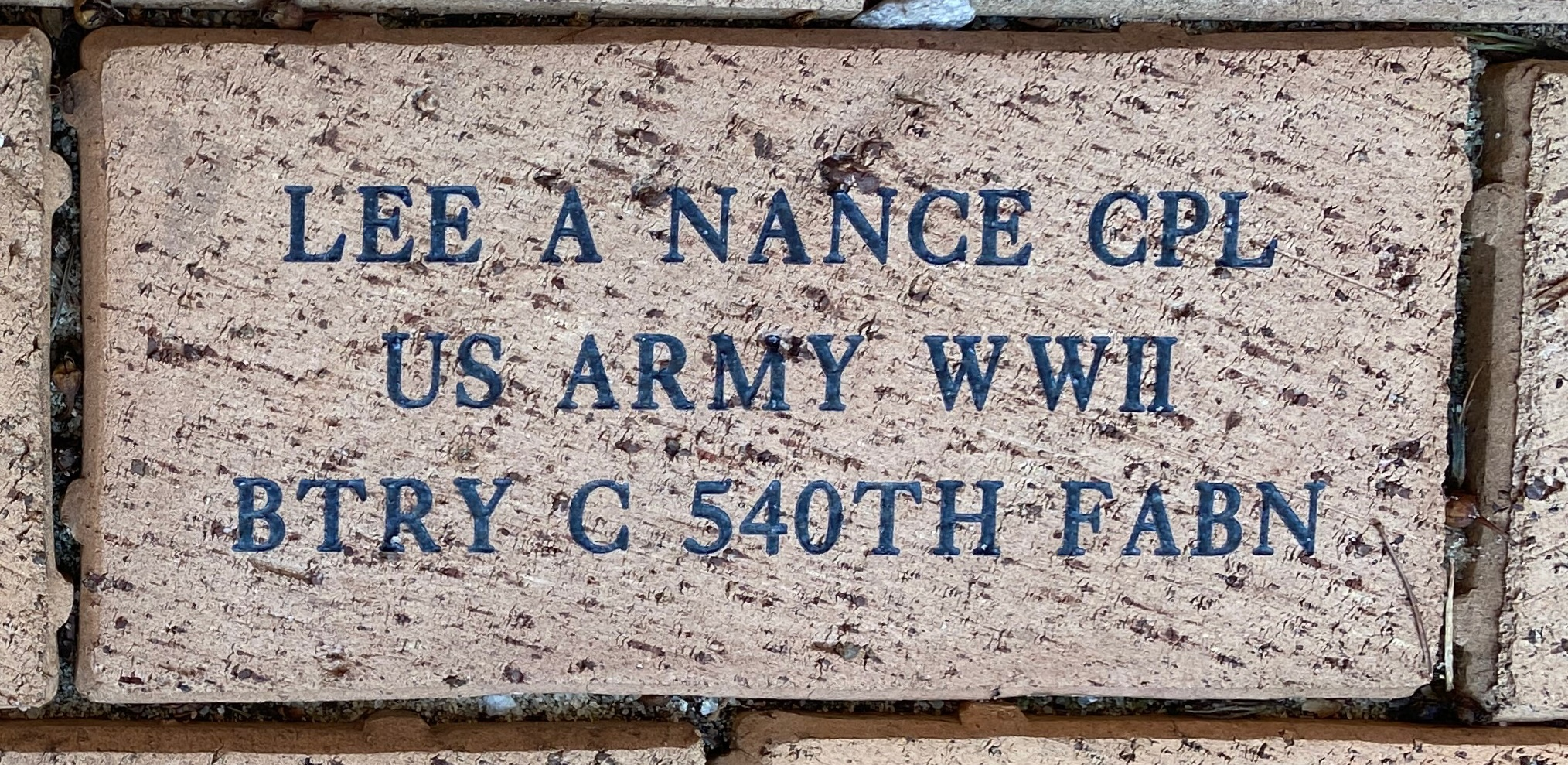 LEE A NANCE CPL US ARMY WWII BTRY C 540TH FABN