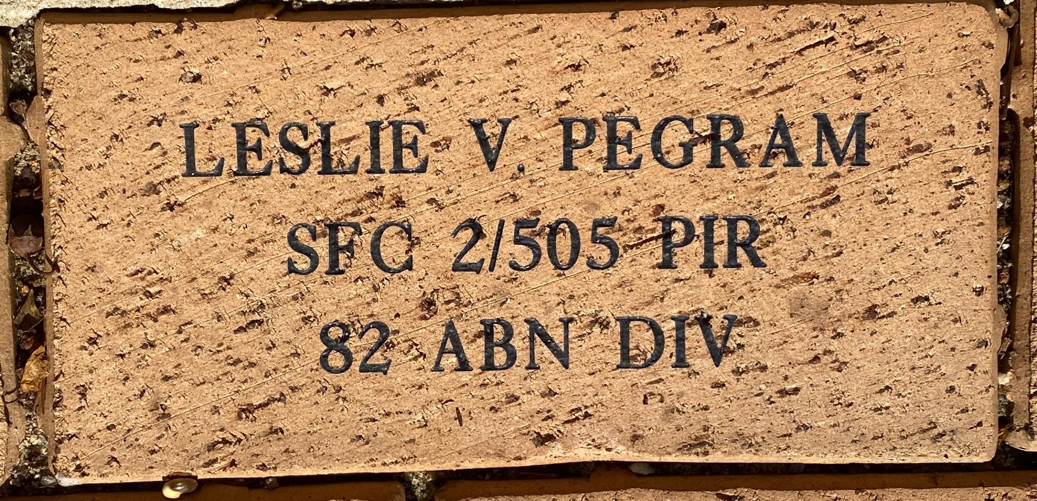 LESLIE V PEGRAM SFC 2/505 PIR 82 ABN DIV