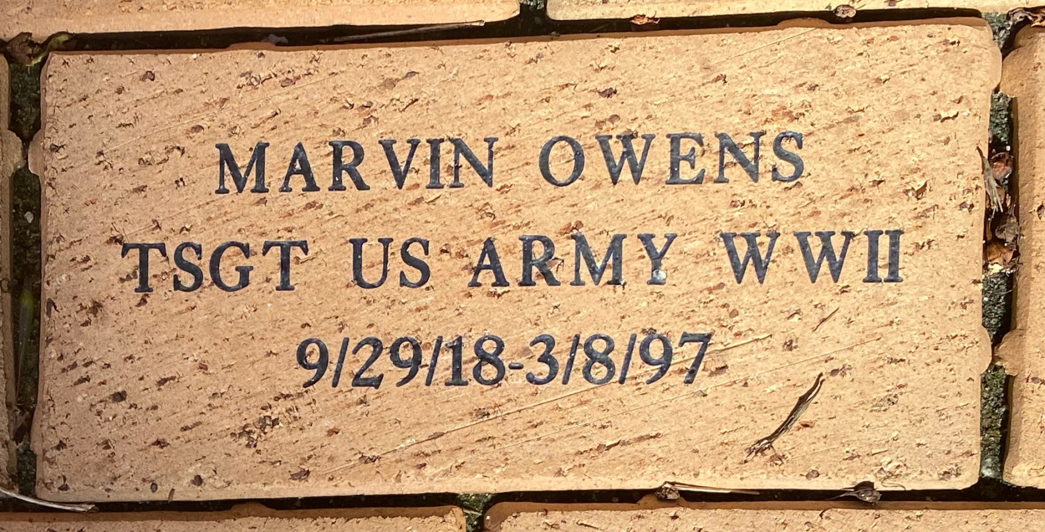 MARVIN OWENS TSGT US ARMY WWII 9/29/18-3/8/97