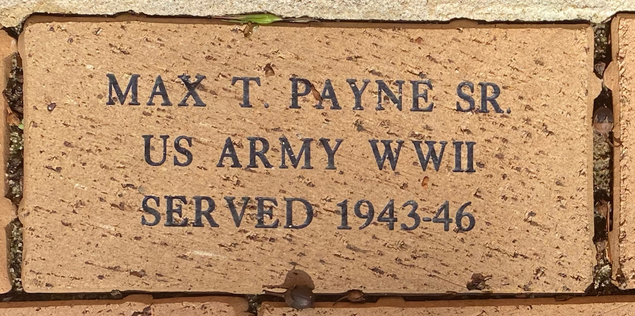 MAX T. PAYNE SR. US ARMY WWII SERVED 1943-46