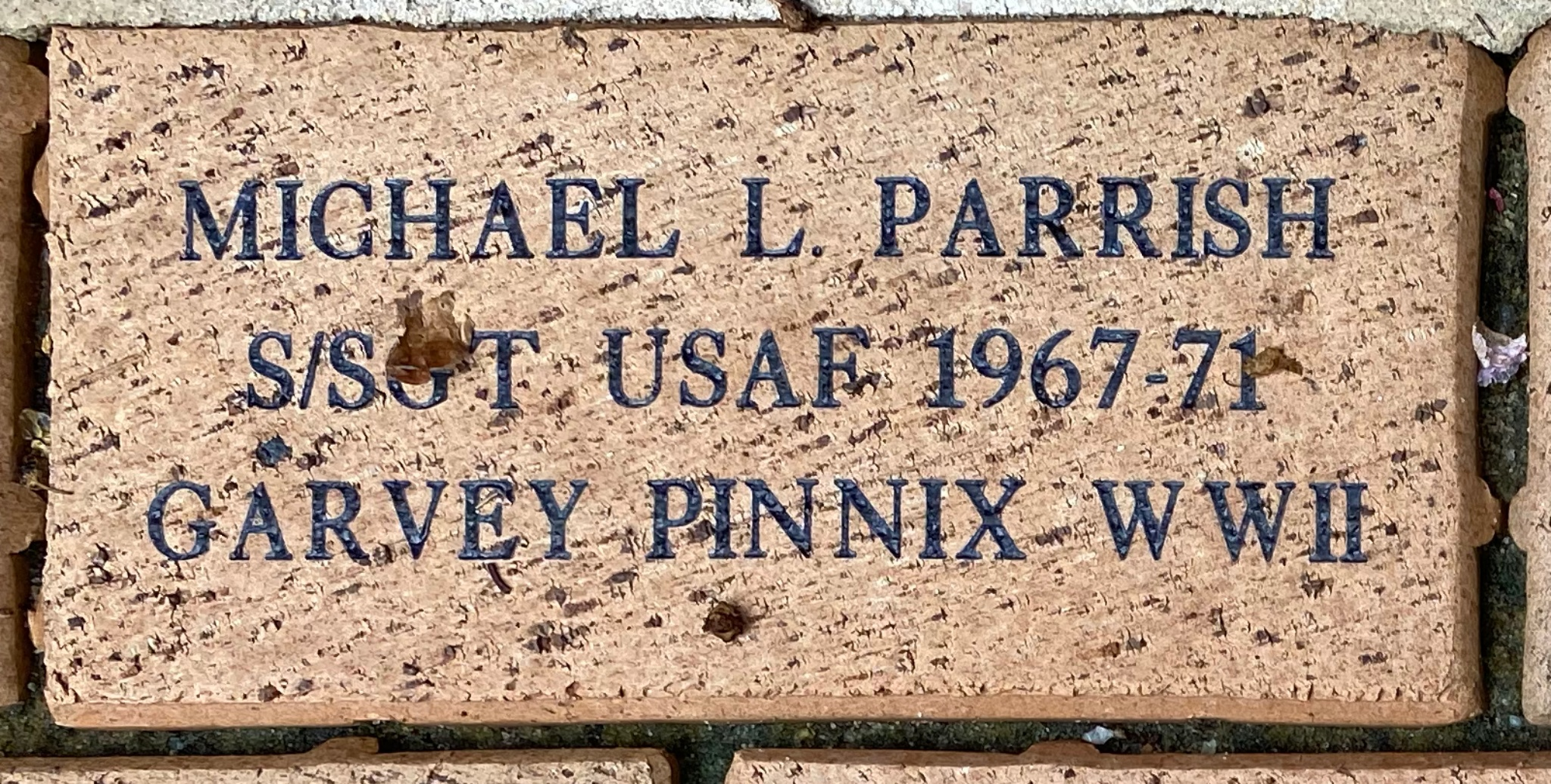 MICHAEL L. PARRISH S/SGT USAF 1967-71 GARVEY PINNIX WWII