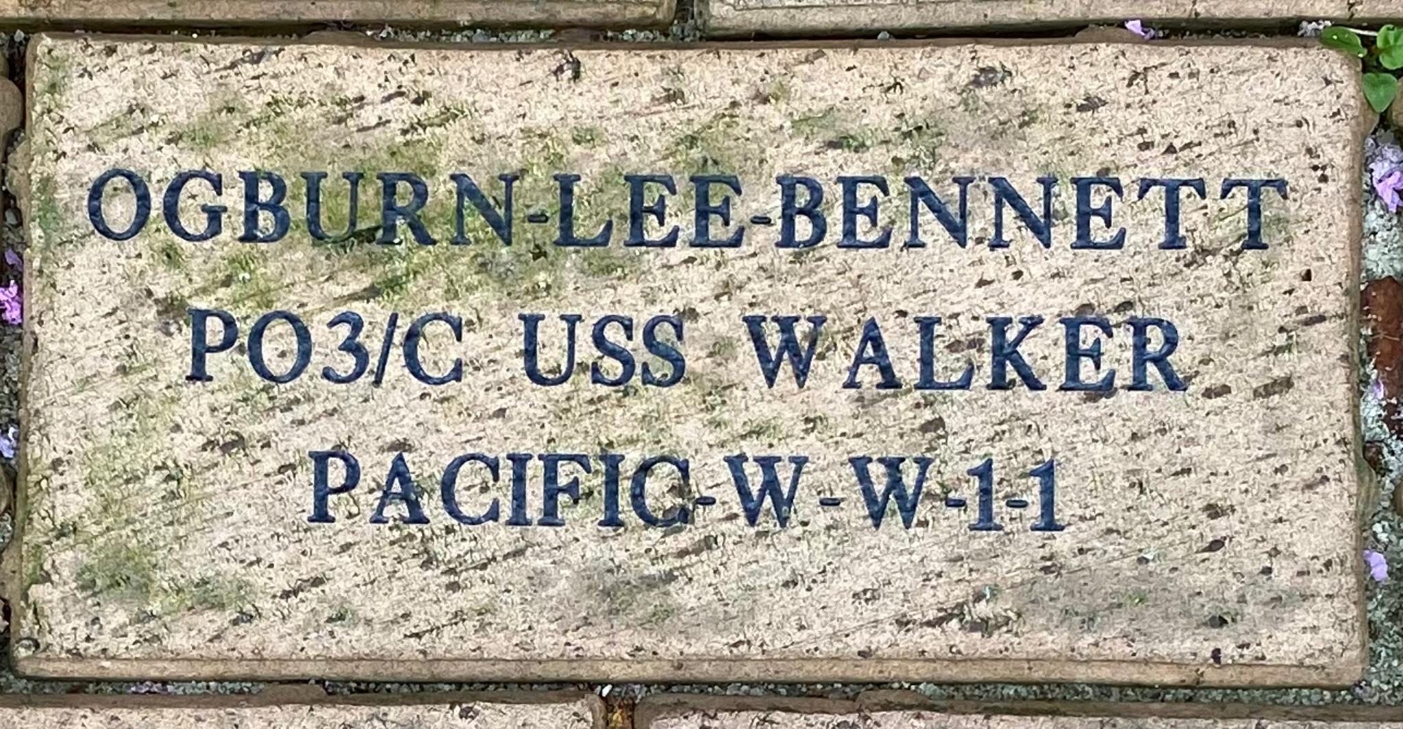 OGBURN-LEE-BENNETT PO3/C USS WALKER PACIFIC-W-W-I-I