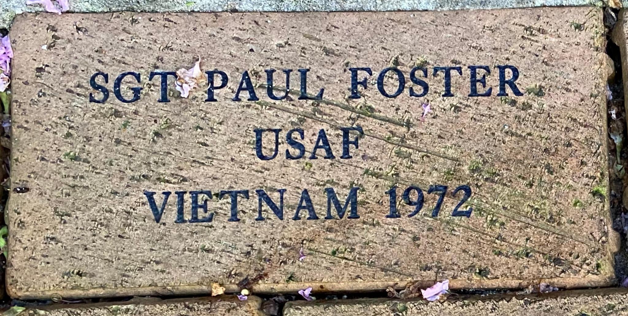 SGT PAUL FOSTER USAF VIETNAM 1972