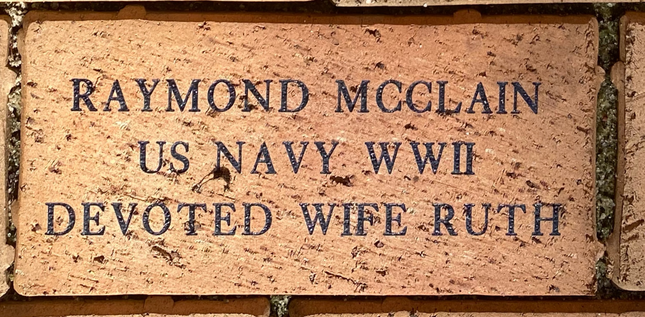 RAYMOND MCCLAIN US NAVY WWII DEVOTED WIFE RUTH