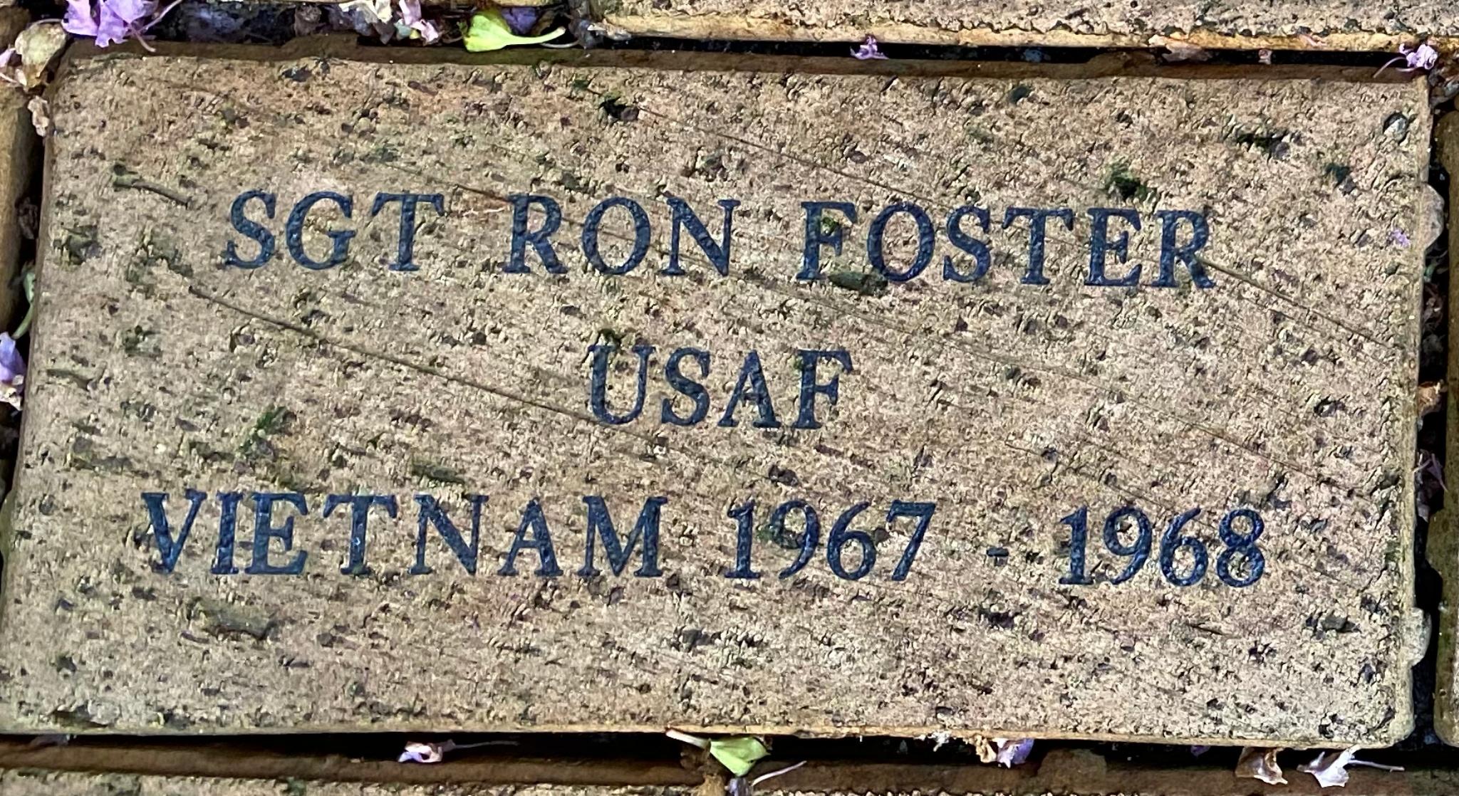SGT RON FOSTER USAF VIETNAM 167 – 1968