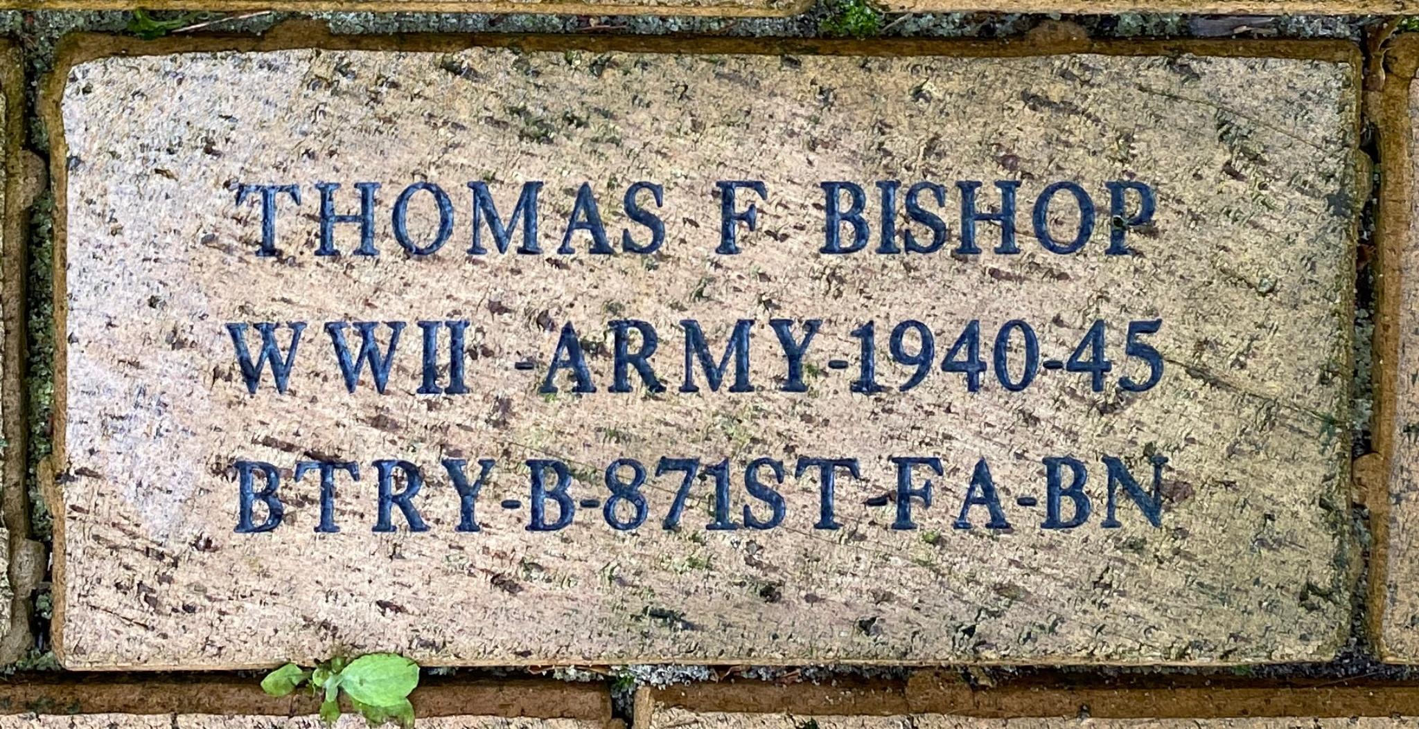 THOMAS F BISHOP WWII ARMY 1940-45 BTRY B-871ST FA-BN