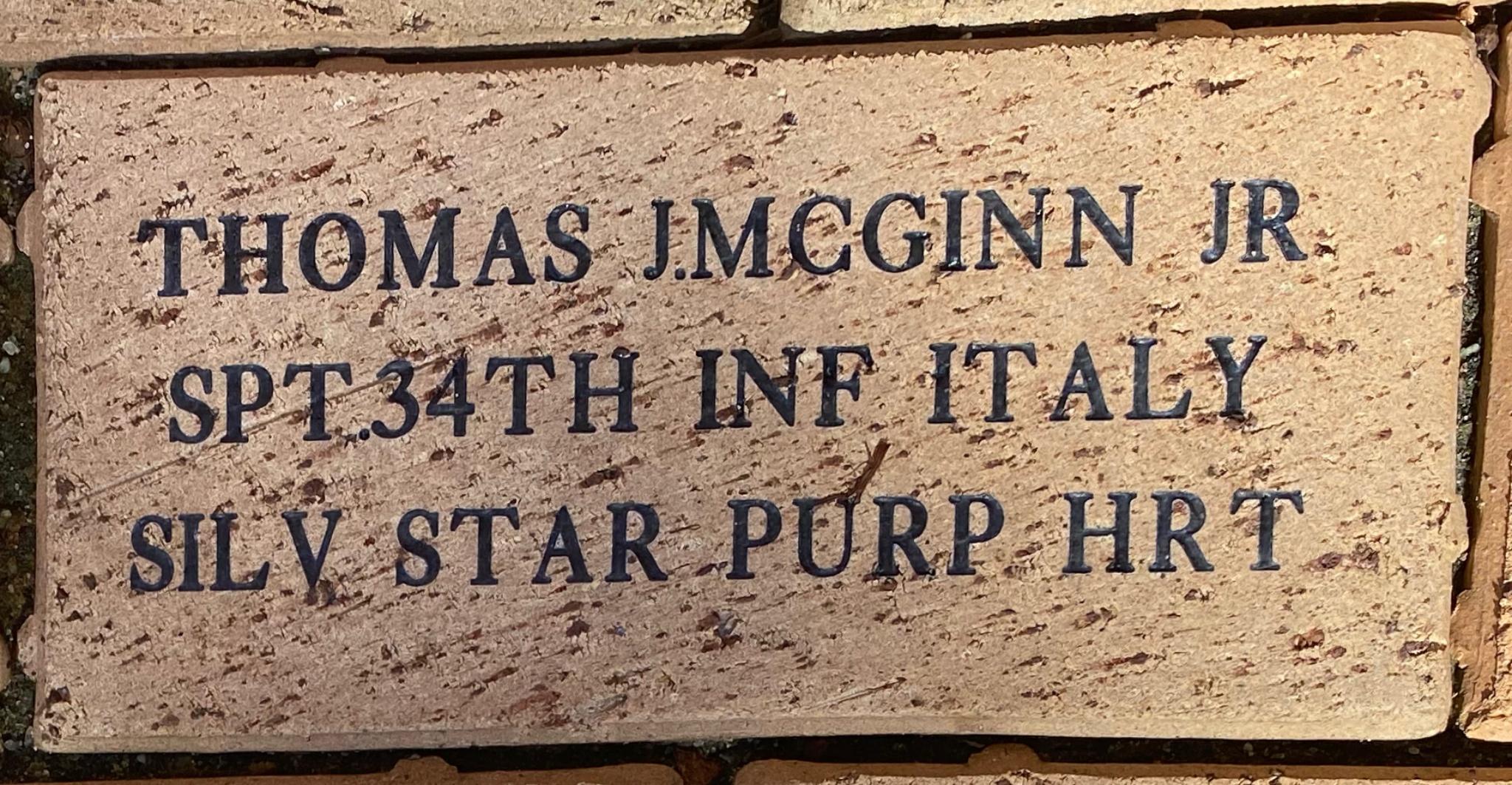 THOMAS J.MCGINN JR SPT 34TH INF ITALY SILV STAR PURP HRT
