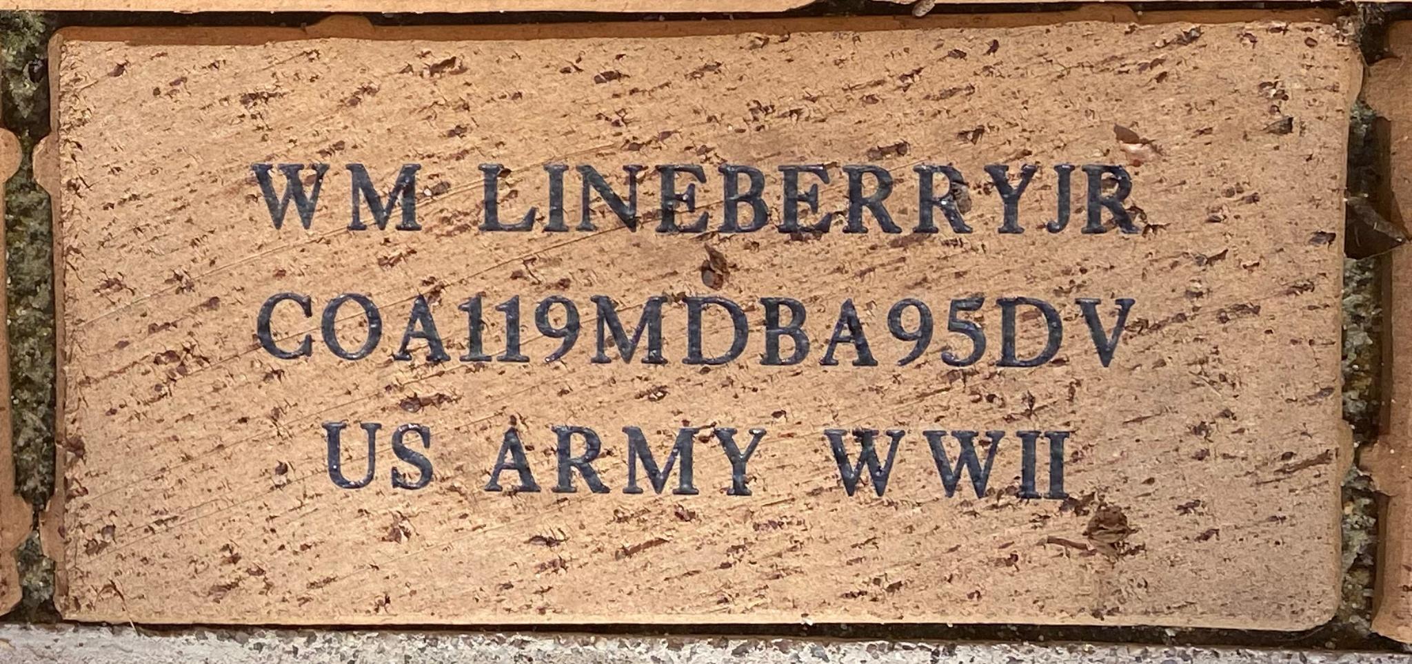 WM LINEBERRYJR COA119MDBA95DV US ARMY WWII