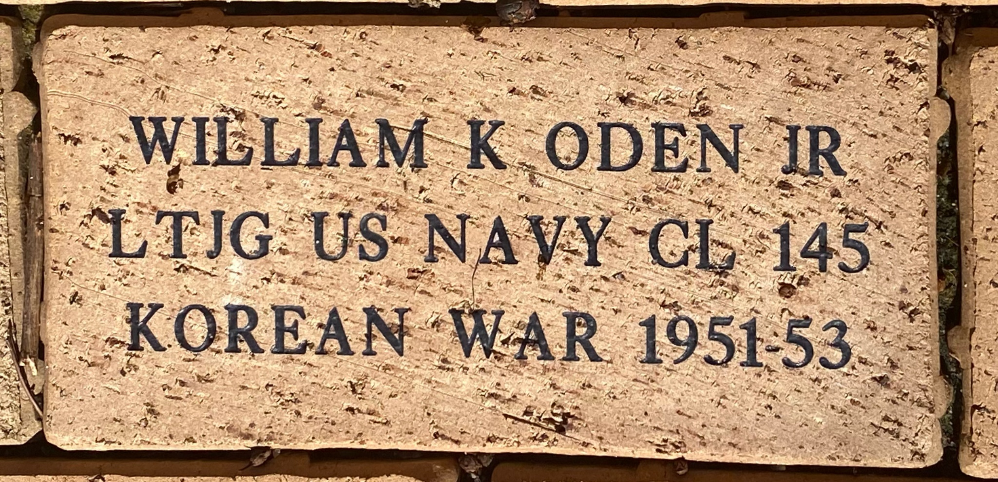 WILLIAM K ODEN JR LTJG US NAVY CL 145 KOREAN WAR 1951-53