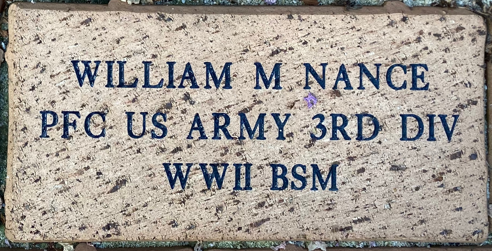 WILLIAM M NANCE PFC US ARMY 3RD DIV WWII BSM